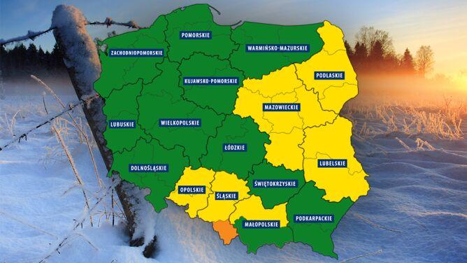 Ostrzeżenia przed silnym mrozem <br />w sześciu województwach