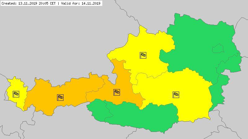 Ostrzeżenia meteorologiczne dla Austrii na czwartek (meteoalarm.eu)