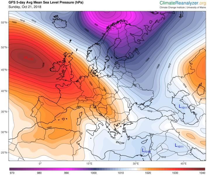 Prognoza ciśnienia na najbliższe pięć dni (climatereanalyzer.org)