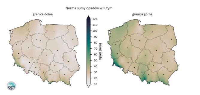 Granice normy wieloletniej sumy opadów w lutym (IMGW)